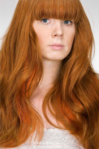 Long // Red // Bright // Copper // Auburn // Blunt Bangs // Long Layers // Wavy // Smooth | Real ...