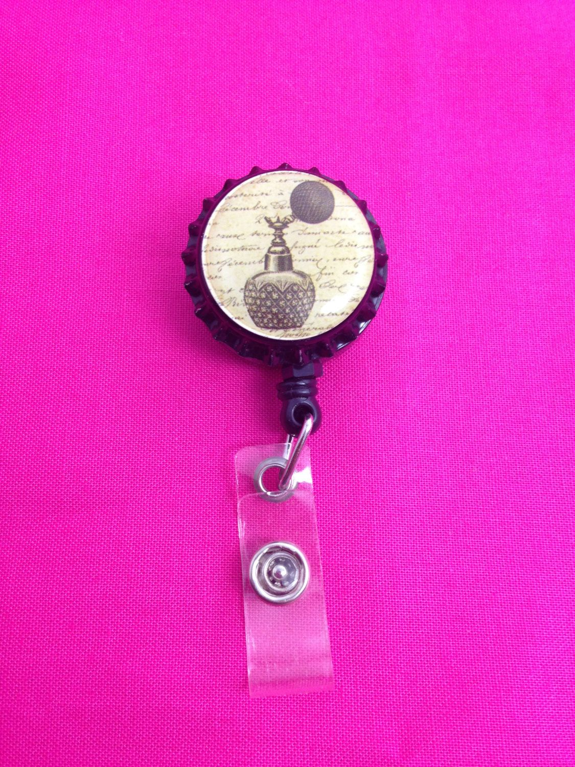 Perfume Bottle Retractable Badge Holder by GraysonsHome on Etsy