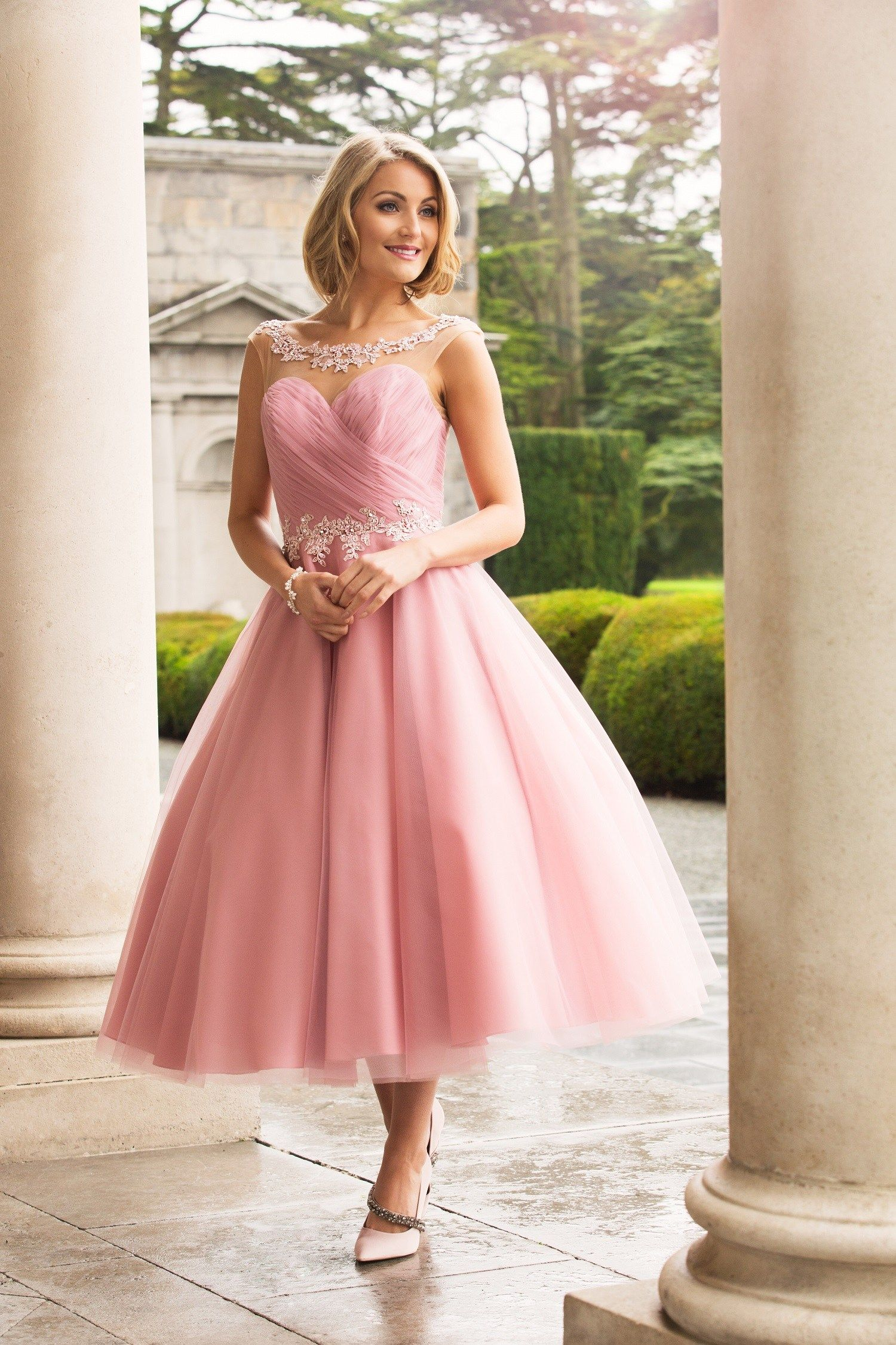 Tea Length A-line Pink Tulle Bridesmaid Dress with Lace | wedding ...