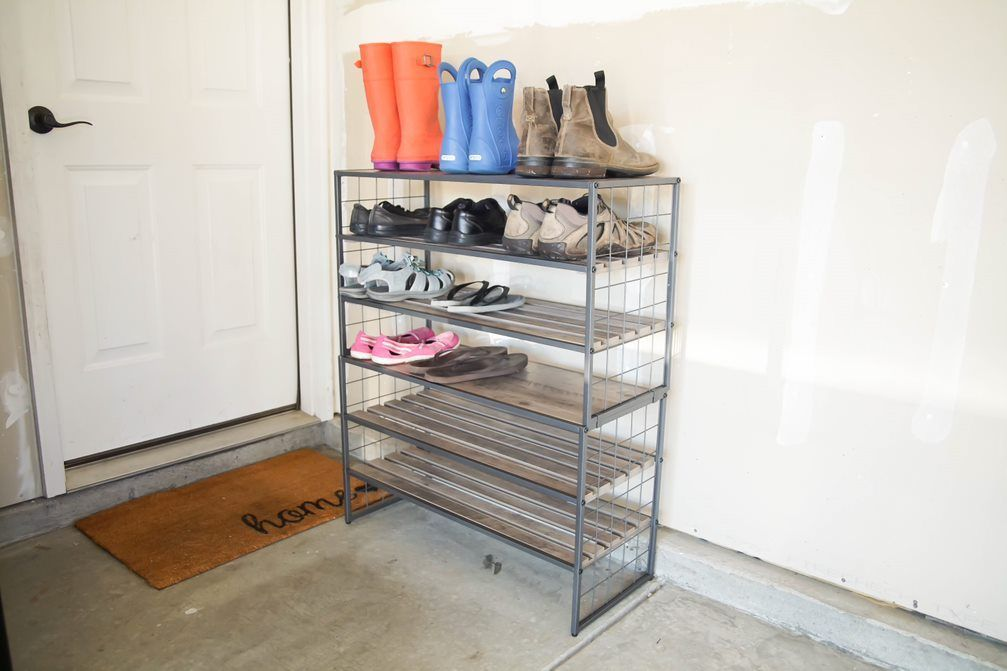 Home Shoe Rack Metal Shoe Rack Grey Wood
