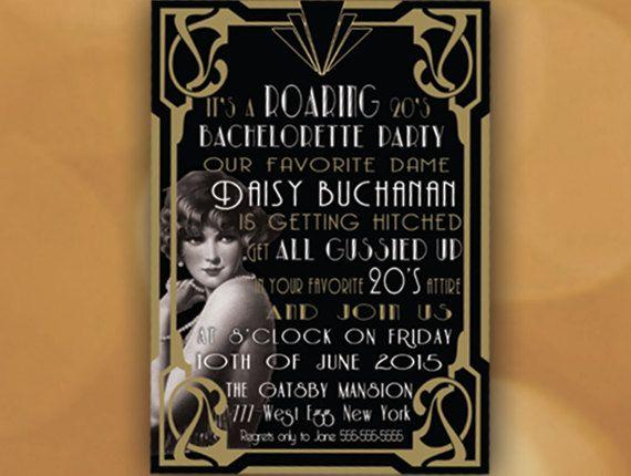 Roaring 20's Invitation- Bachelorette Party Invitation- 1920's party invitation-Great Gatsby ...