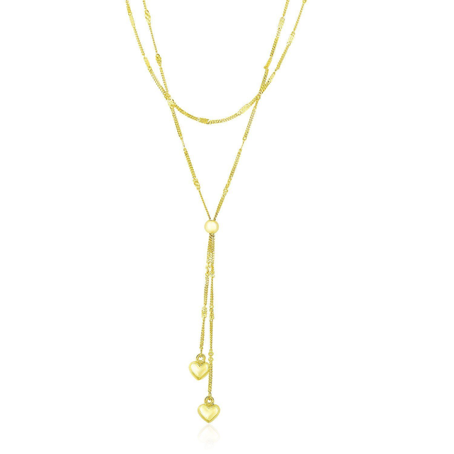 K Yellow Gold Puffed Heart Lariat Double Strand Necklace Strand