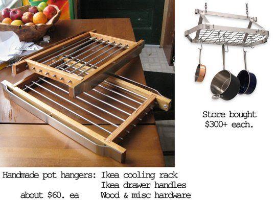 handmade pot hanger: ikea cooling rack, ikea drawer handles, wood and misc