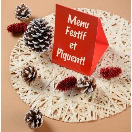 Marque-table carton rouge 15 cm les 60