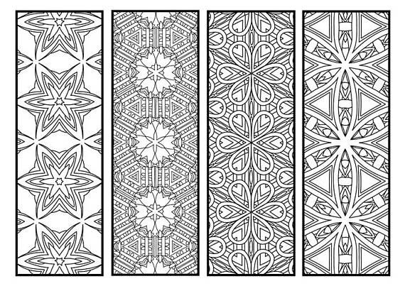 Geometric Pattern Coloring Bookmarks Set Instant Download ...
