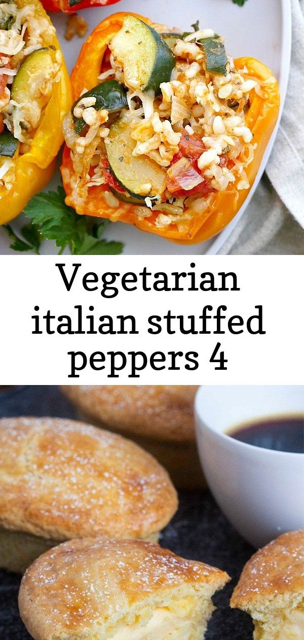 Vegetarian italian stuffed peppers 4 Vegetarian Italian Stuffed Peppers  a healthy stuffed peppers recipe with rice zucchini spinach tomatoes onion and finished with a cr...