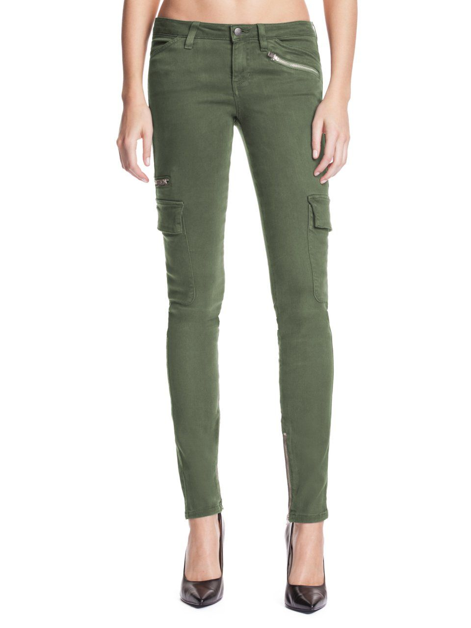 3b55364e GUESS Cargo Skinny Jeans in Washed Dusty Olive, WASHED DUSTY OLIVE (28