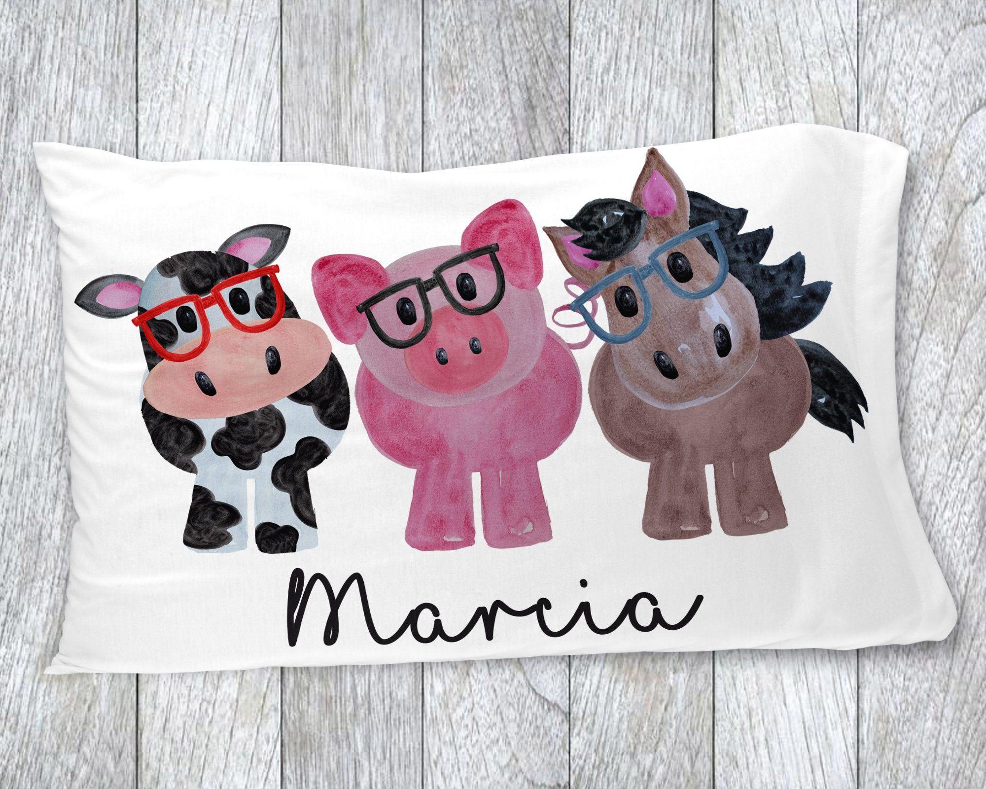 Kids Pillowcase Animal Pillowcase Personalized Pillowcase Etsy Kids Pillow Cases Personalized Pillow Cases Girls Personalized Gifts