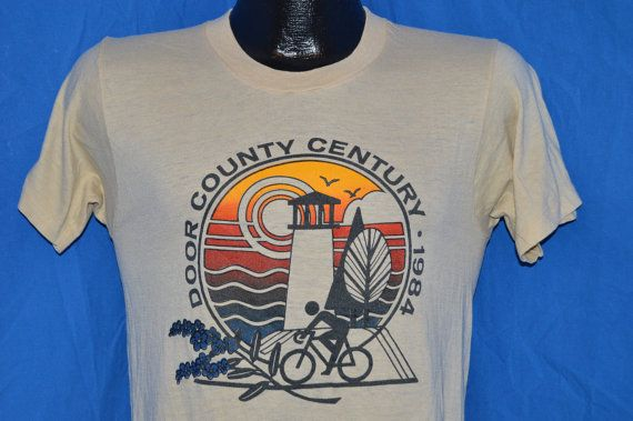 80s Door County Century Bike Ride 1984 Beige By Thecaptainsvintage Beach T Shirts T Shirt Mens Tops
