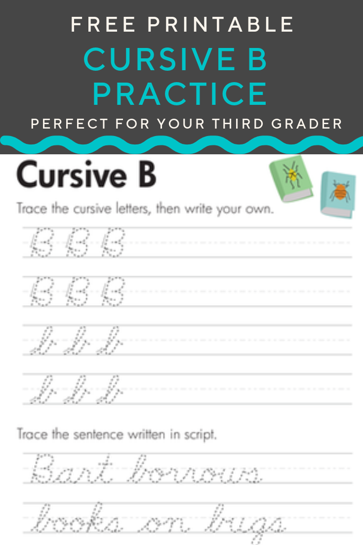 Free Cursive B Worksheet for Kids   Worksheet   Education.com   Cursive b [ 1102 x 735 Pixel ]