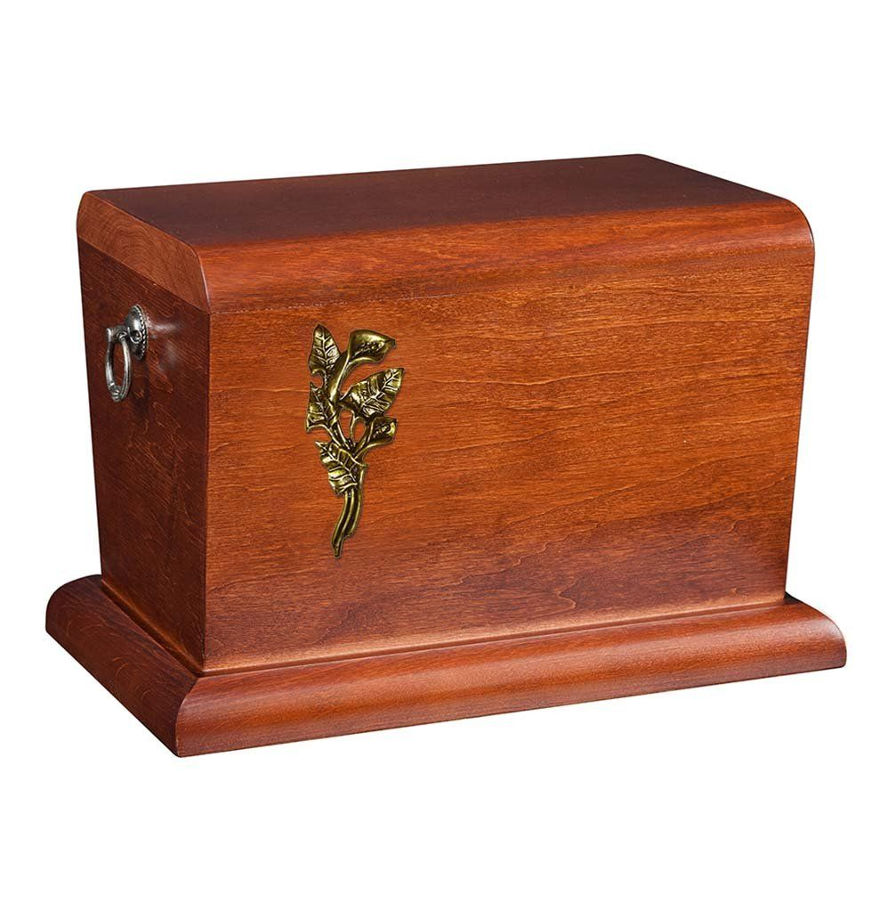 BEAUTIFUL SOLID WOOD CASKET FUNERAL ASHES URN FOR ADULT UNIQUE ITALIAN URN Wu63