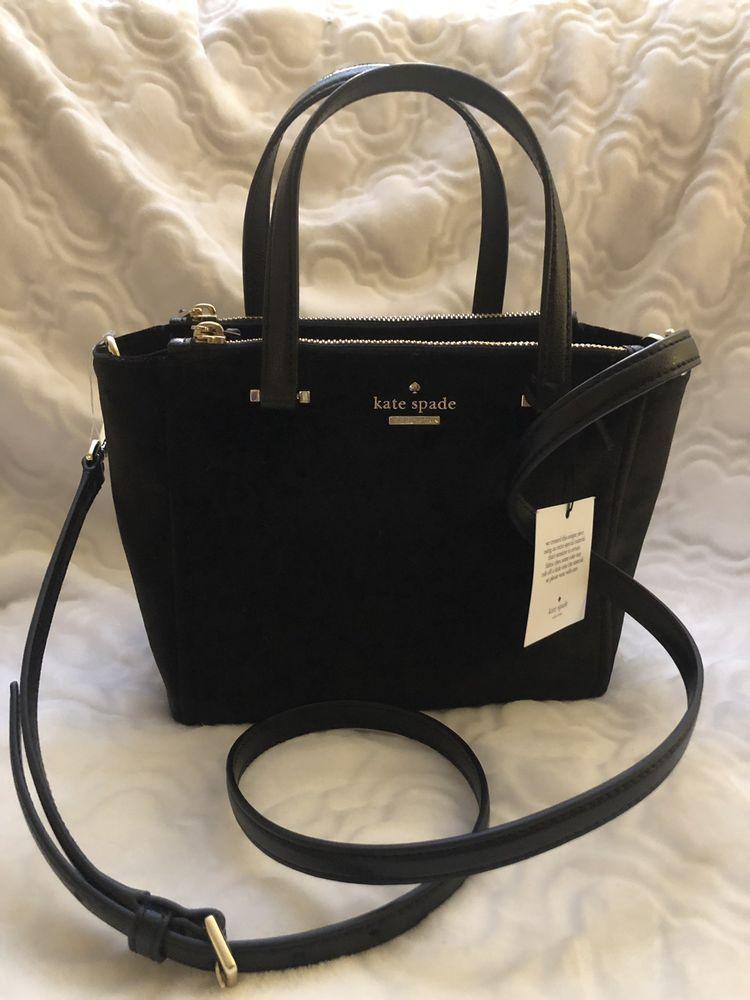 f2835d3718 Kate Spade Dawn Place Black Velvet Mini Kona Satchel Crossbody Purse Handbag  NWT