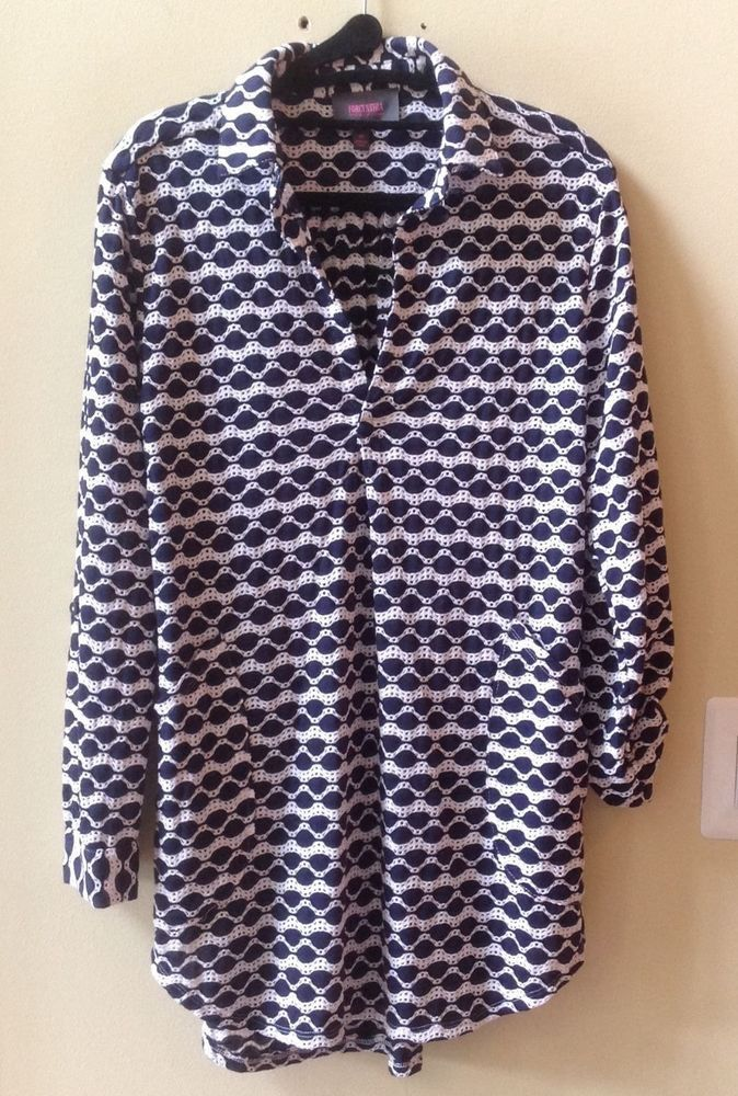 258fc94fc3 NWT FORCYNTHIA BEACHWEAR BLUE/WHITE LONG SLEEVE PERFORATED COVER UP SIZE M # ForCynthia #CoverUp