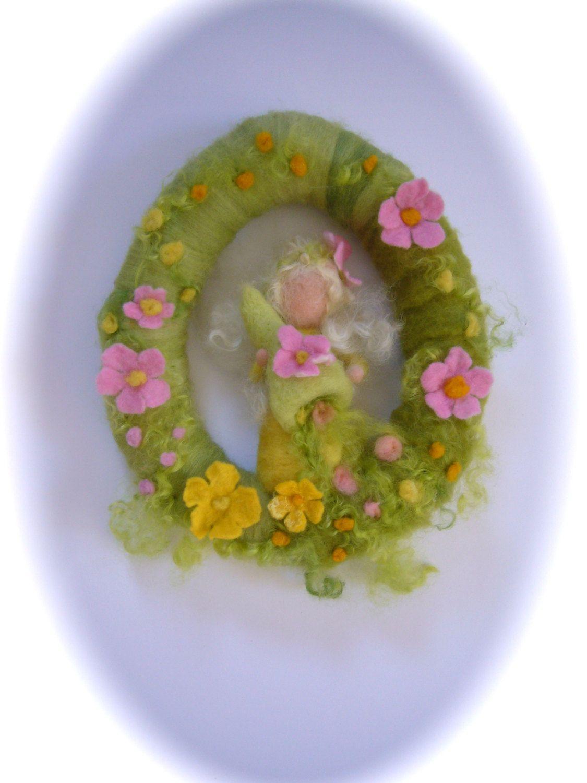 Spring Fairy Wreath. Needle Felted. Waldorf.Wool door FilzArts, $46,00
