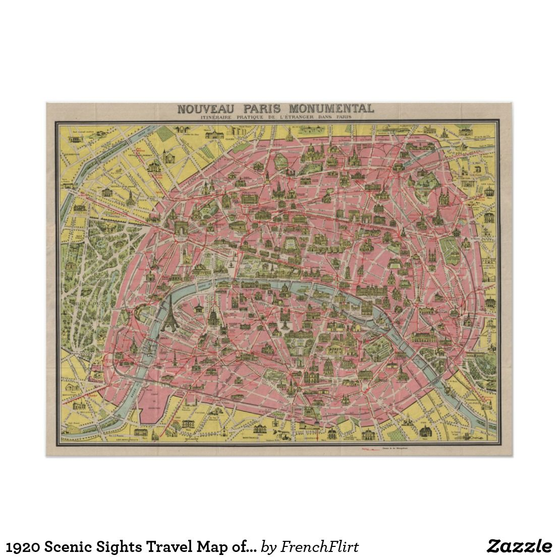 1920 Scenic Sights Travel Map of Paris, France Poster ...