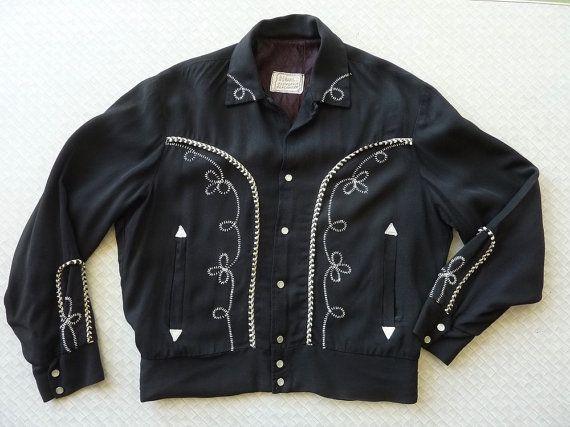 1f0f3f5da H Bar C Vintage 1960s Men's Black Western Rockabilly Jacket S-M ...