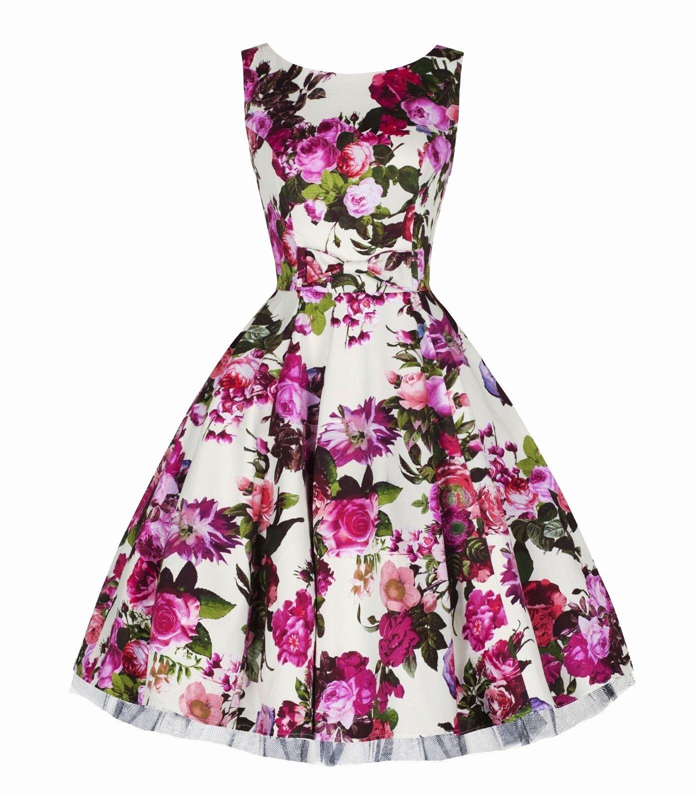 H Amp R London Audrey Pink Floral Swing Dress Vintage