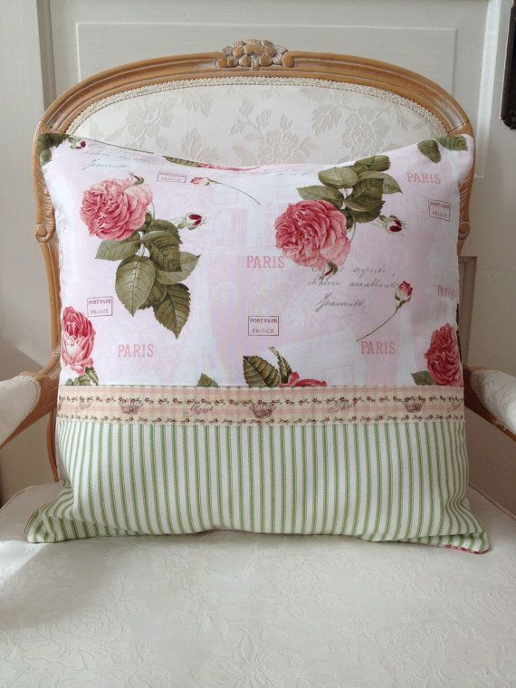 French Shabby Chic Pillows : RESERVED FOR MARIAN Shabby Chic Pillow Cover, Cabbage Rose Pillow, Paris Pillow Cover, Country ...