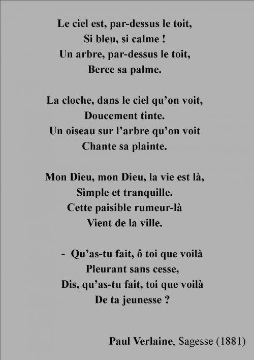 Le Ciel Par-dessus Le Toit : par-dessus, DESSUS, VERLAINE, Ciel,, Verlaine,