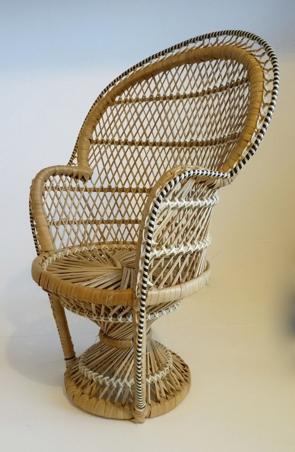 Vintage 1960 S Boho Small Rattan Peacock Chair For Doll