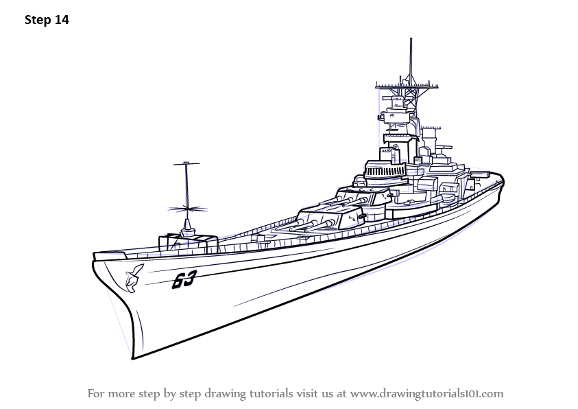 Learn How To Draw Uss Missouri Aka Big Mo Battleships Step By Step Drawing Tutorials Uss Missouri Battleship Super Coloring Pages