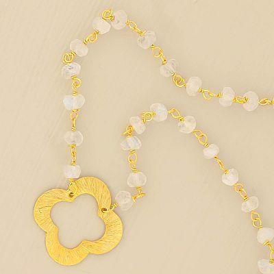 Sterling Vermeil 18'' Moonstone & Clover Necklace