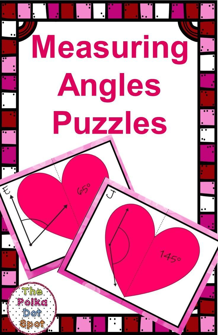 Measuring Angles Puzzles Valentines Day Valentines