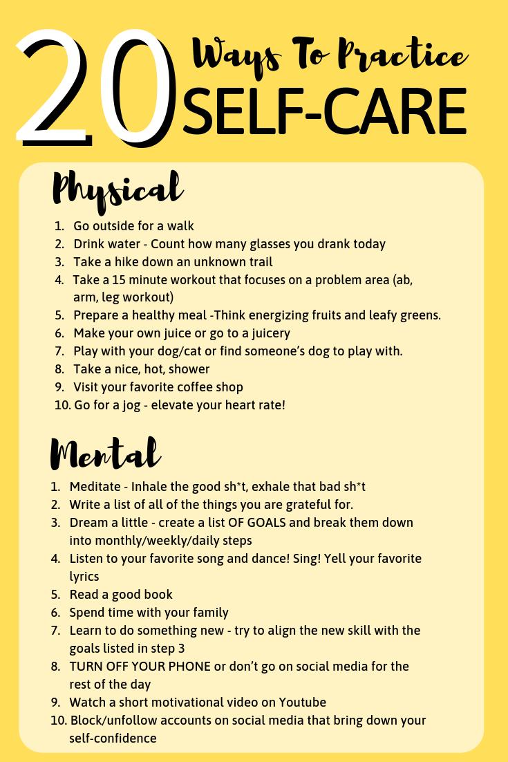 20 Ways To Practice Self-Care