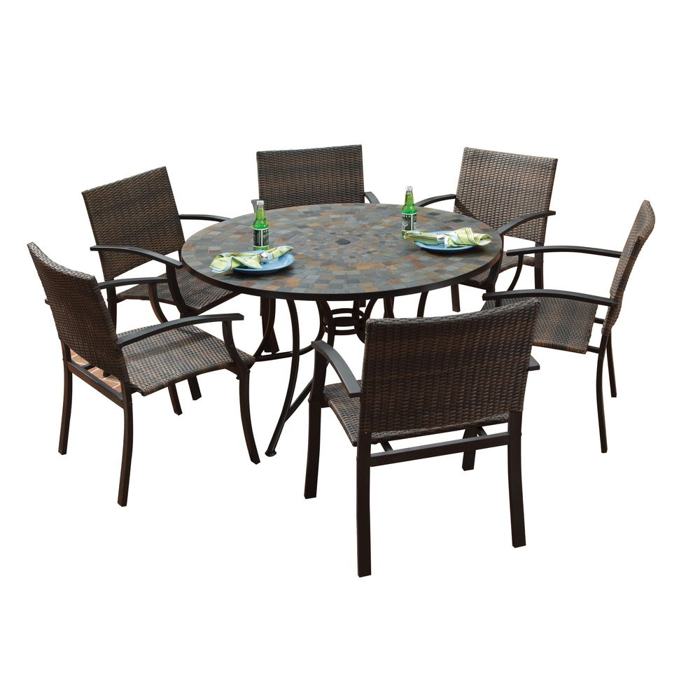 Stone Harbor Large Round Dining Table And Newport Arm Chairs Outdoor Dining  Set   Overstock™ Shopping   Big Discounts On Dining Sets