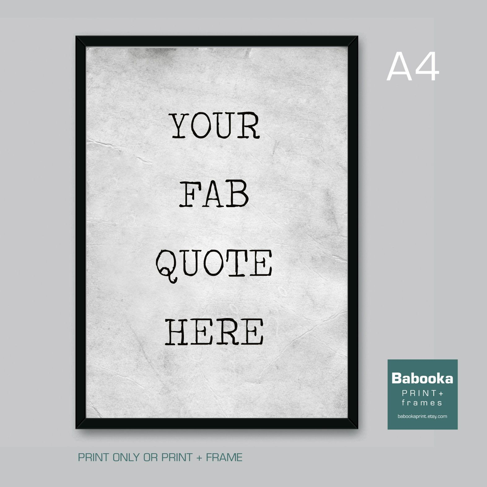 YOUR OWN Vintage Minimalist Typographic Quote A4 Giclee