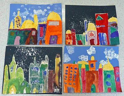 """cette femme artiste: """"Night and Day"""" gratte-ciel de la ville"""