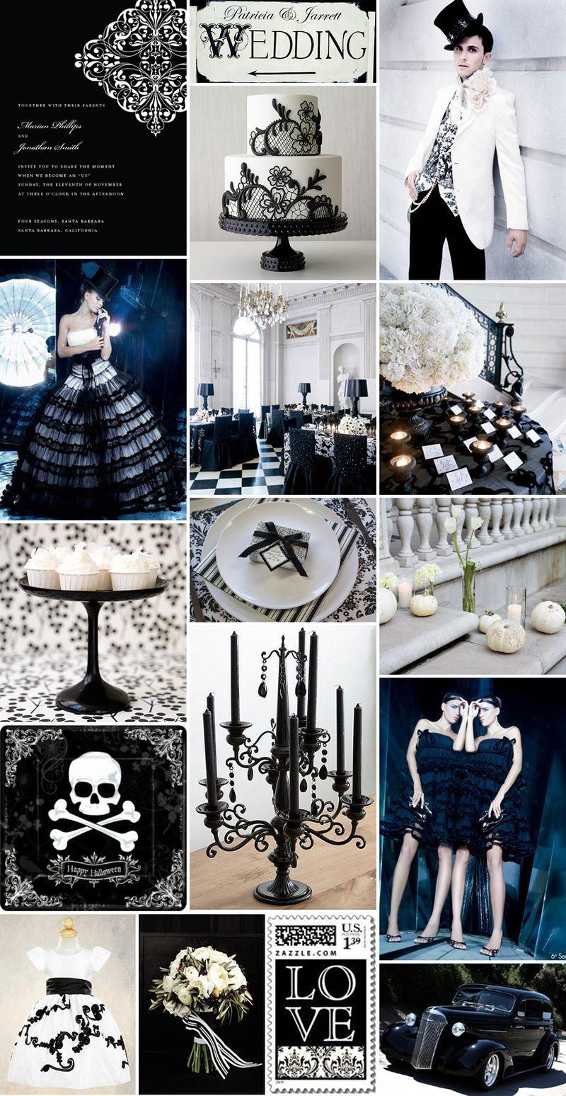 Halloween wedding gothic glam black and white theme