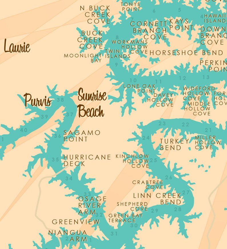 Lake Of The Ozarks Mo With Mile Markers Map Art Print Etsy Lake Ozark Ozarks Map Ozarks