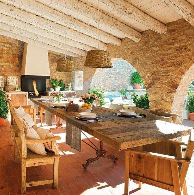 La casa del porche muebles de madera piedra y madera for Muebles porche