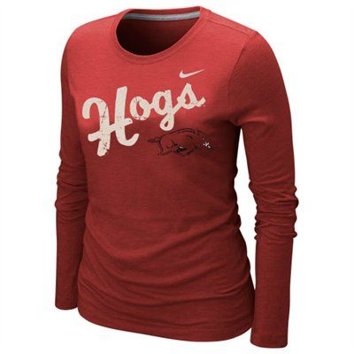 Nike Arkansas Razorbacks Ladies Angler Tri Blend Long Sleeve T Shirt Cardinal Arkansas Razorbacks Razorbacks Sooners