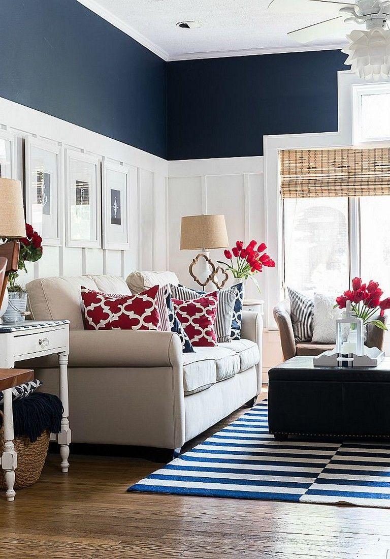 35 Cozy Living Room Decorating Ideas Living Room Red Blue Living Room Blue Home Decor Americana living room decorating