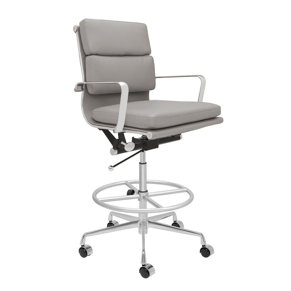 Soho Soft Pad Drafting Chair Grey Drafting Chair Mid Century Modern Office Chair Office Chair Design
