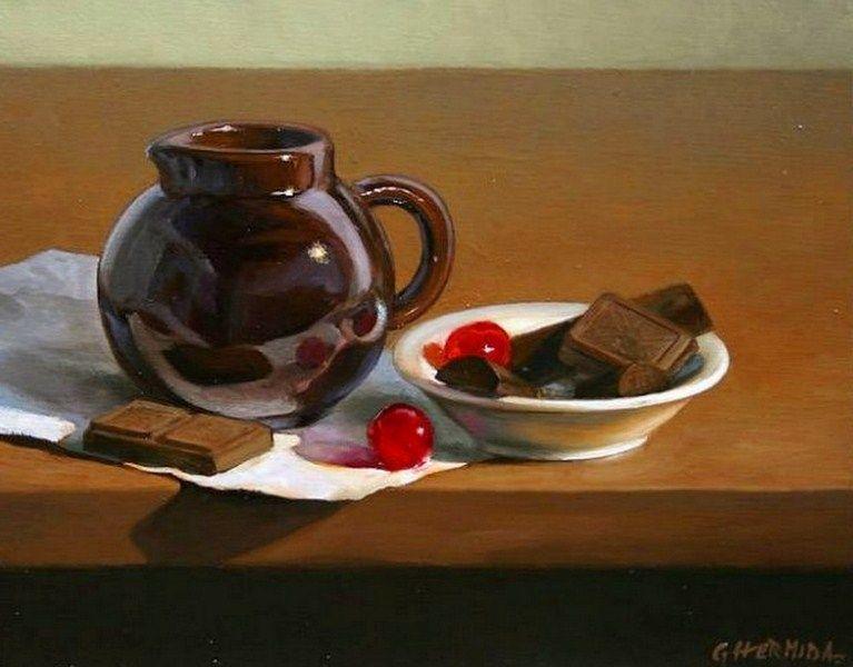Paisajes y Bodegones: Bodegones pintados al óleo pintor Gabriel Hermida