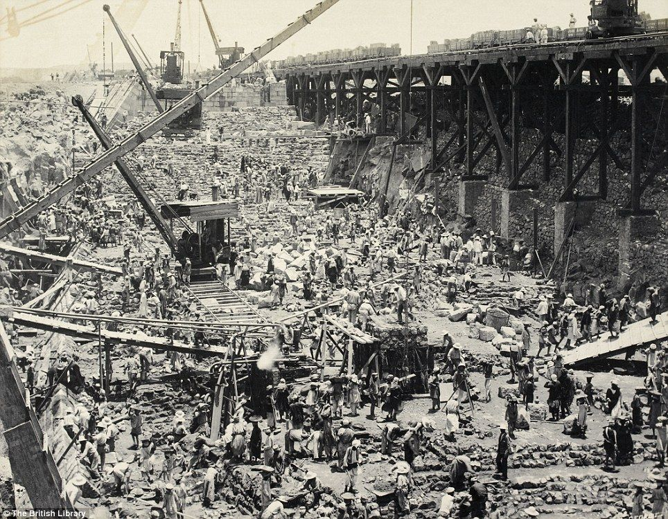 D. S. George's 'Construction of the Aswan Dam' in around 1899, is from an album of views recording the progress of the construction of one of the largest engineering schemes undertaken in Egypt in the late 19th century