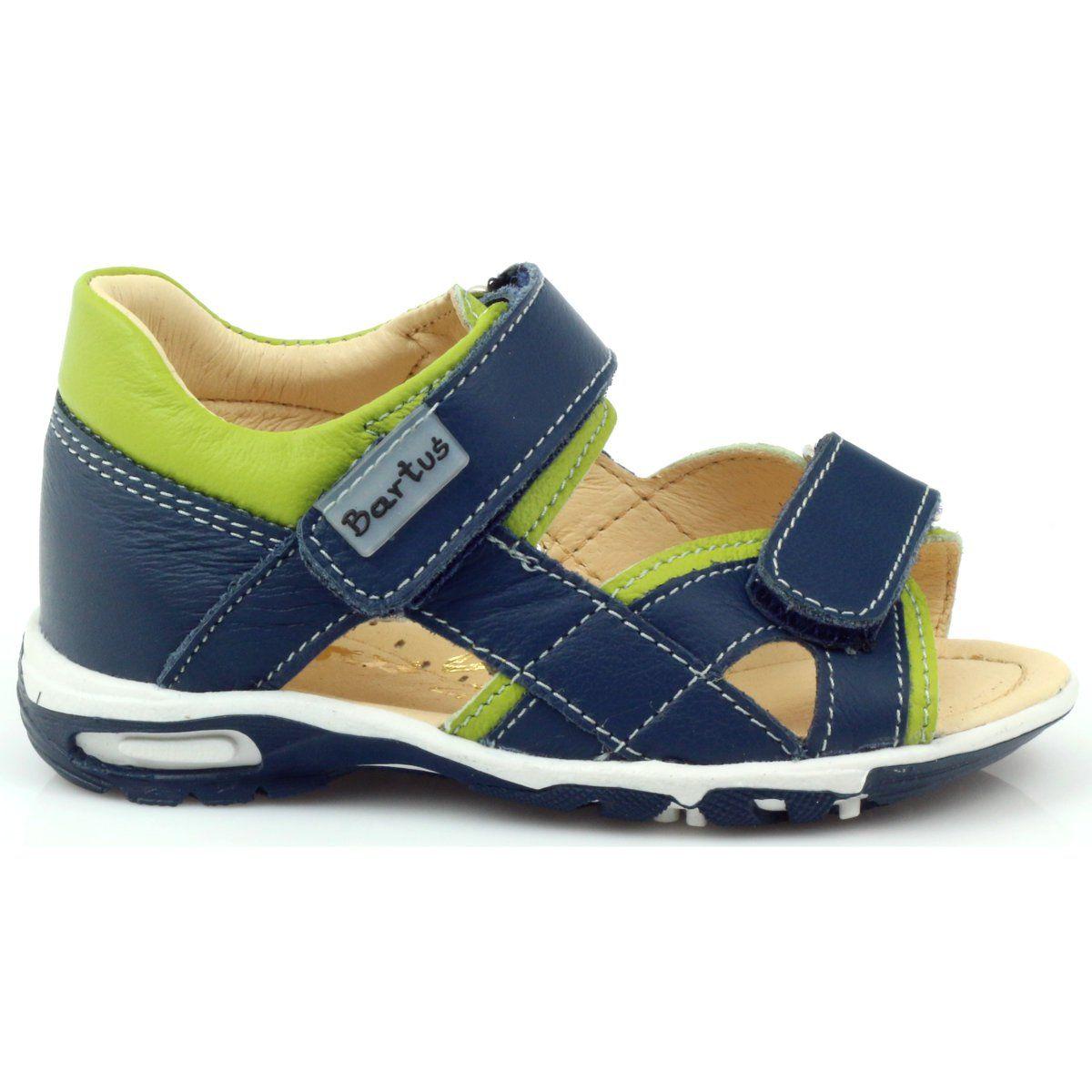 Sandalki Na Rzepy Bartus 137 Granatowe Zielone Stylish Sandals Kid Shoes Summer Shoes