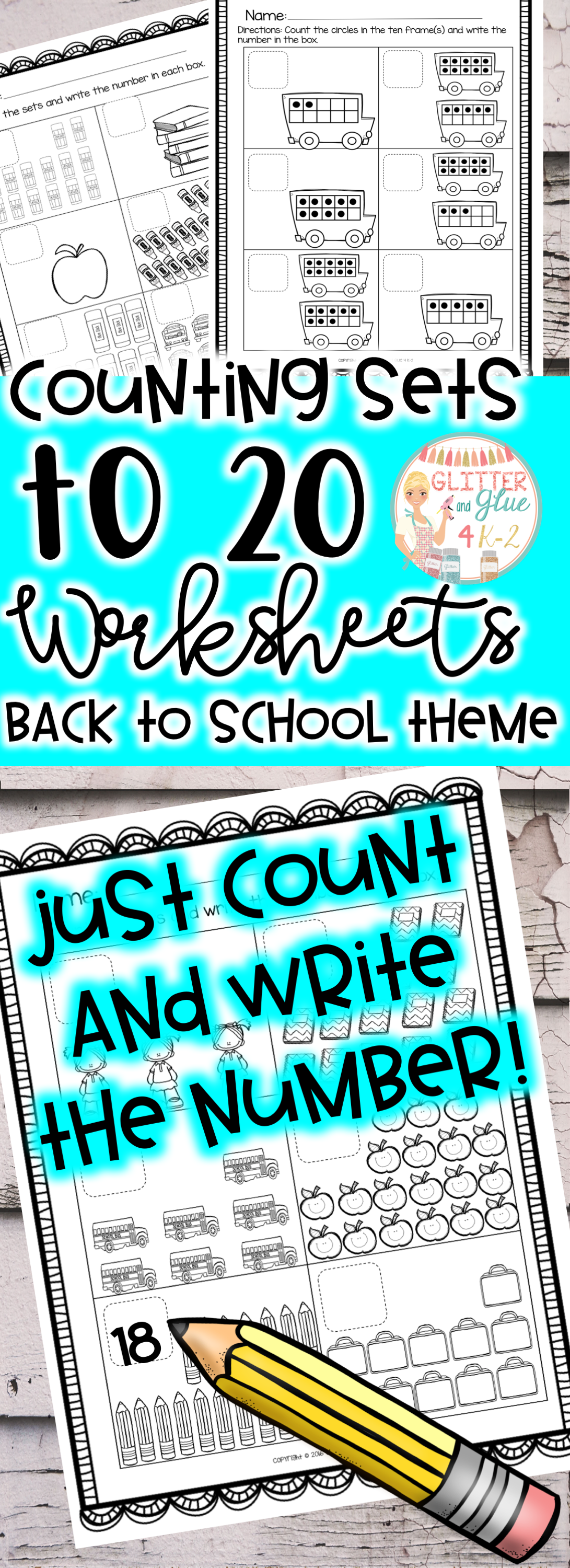 Counting Sets To 20 Back To School Theme