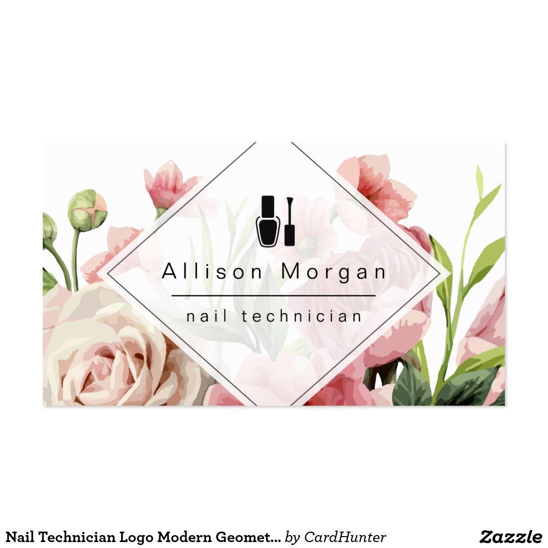 Nail Technician Logo Modern Geometric Chic Floral Pack Of Standard ...