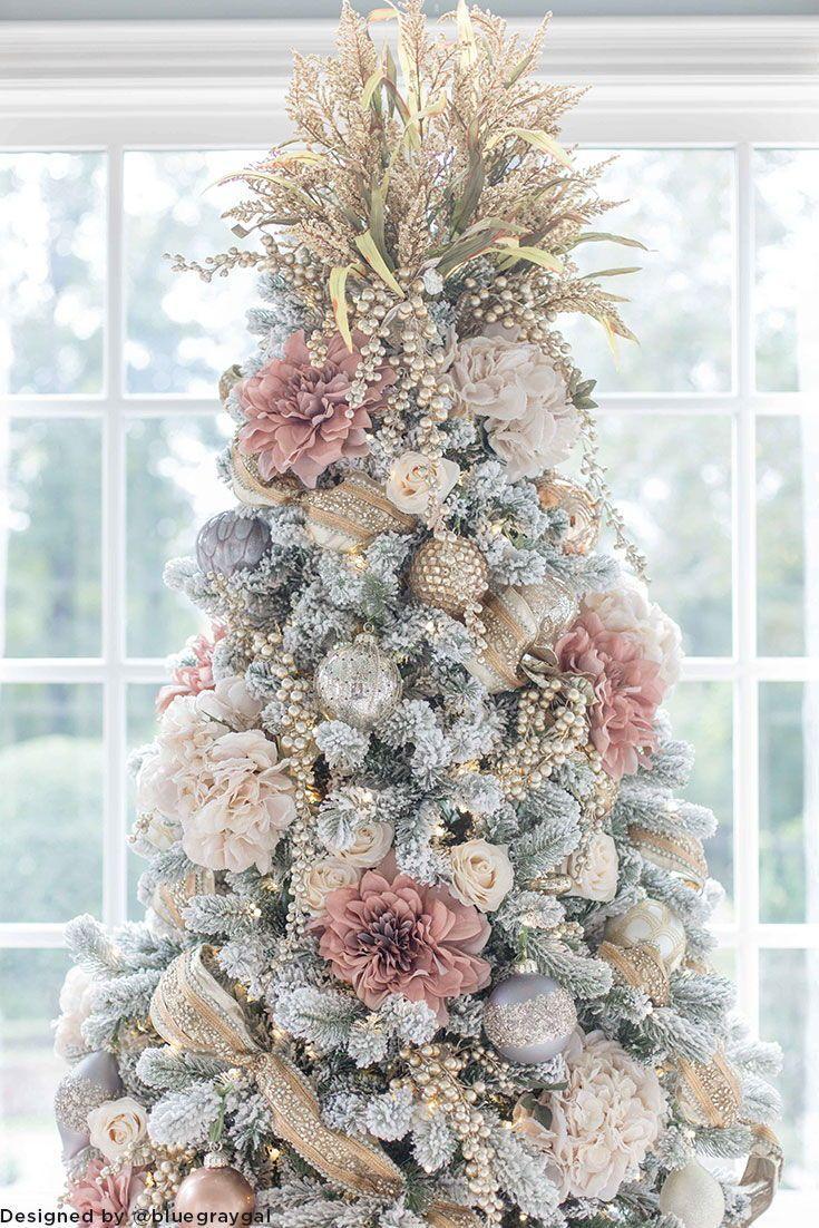 Pink Silk Flower Christmas Tree DIY Holiday Decorating
