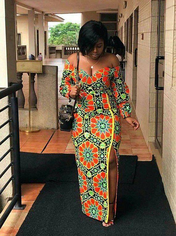 AFRICAN Print/ African Clothing/ Ankara High-slit and Off Shoulder Dress/ Ankara Dress for Women/ #afrikanischekleider