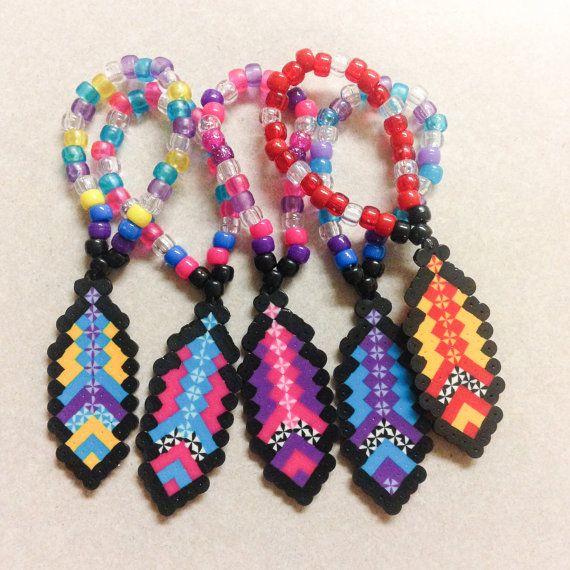 Custom Single Feather Perler Kandi Bracelet By