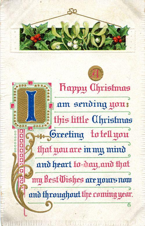 Christmas card black-letter mistletoe holly lovely flourish