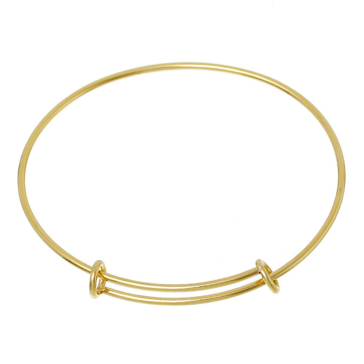 10 Gold Plated Stainless Steel Bangle Charm Bracelet Adjustable Size Expands To Fit Small To Medium Wrist Thick 14 Gauge Fin0428b Bangle Bracelets With Charms Stainless Steel Bracelet Bracelets
