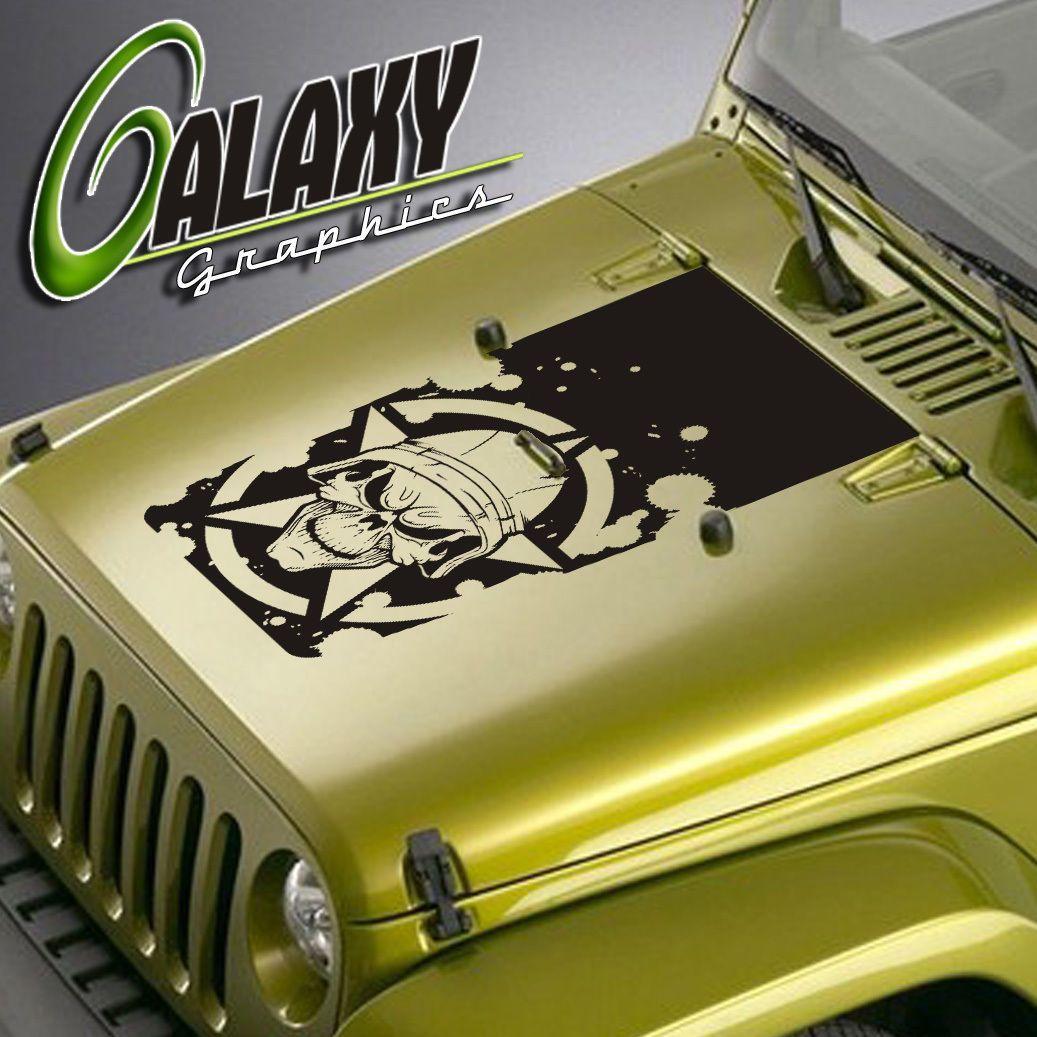 Jeep Wrangler Blackout Military Skull Hood Decal Matte Black 2006 Sticker Tj Lj Jk Ebay