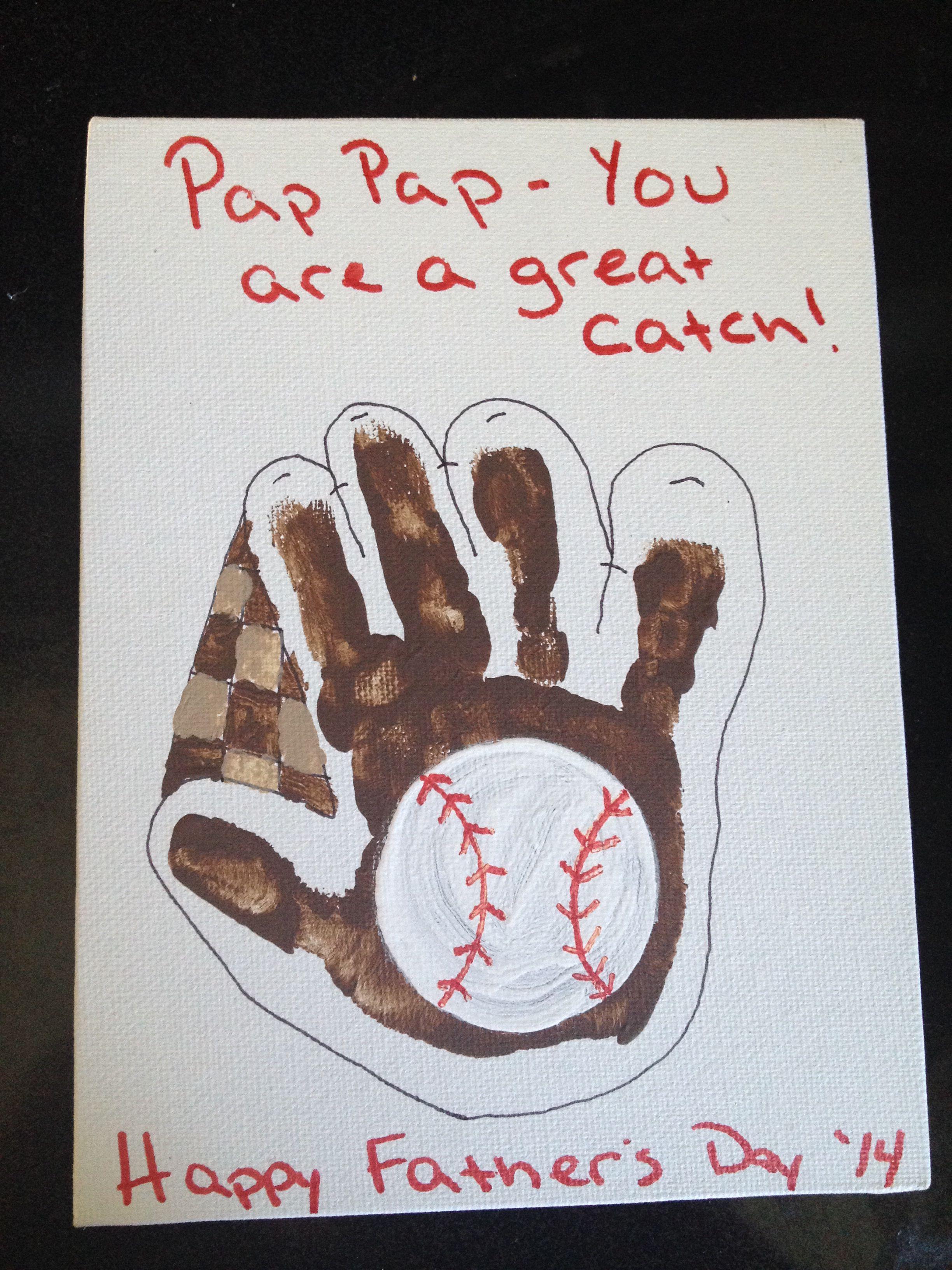 Baseball glove handprint for fathers day grandparents