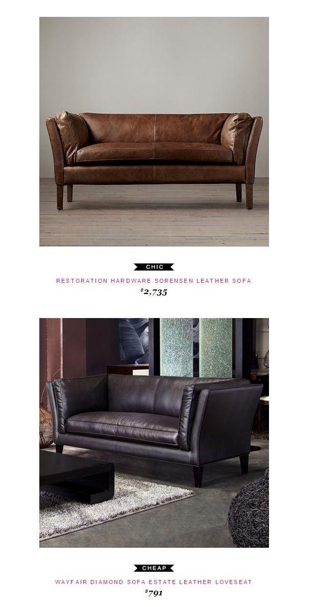 Restoration Hardware Sorensen Leather Sofa $2,735 Vs Wayfair Diamond Sofa  Estate Leather Loveseat $791
